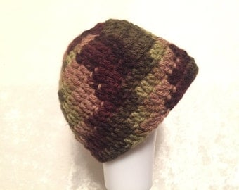 Camouflage colored crocheted hat