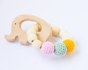 Wooden teether - wooden crochet teether - wooden rattle - baby gift - natural baby toy - teething toy - elephant teether - rattle teether