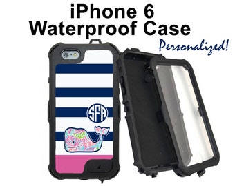 Monogram iPhone 6 Case Personalized iPhone Striped Whale Striped Monogrammed Phone Case iPhone 6 Plus Water Resistant Heavy Duty Case #2608