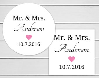 Mr Mrs Wedding Stickers, Mr and Mrs Wedding Labels, Customizable Wedding Stickers (#172)