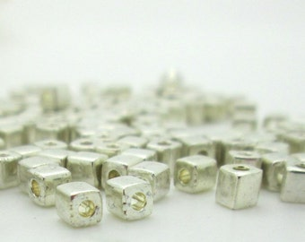 Square Cube Silver Spacer Bead, Miyuki Glass 3mm Spacer Bead, 100 Pieces