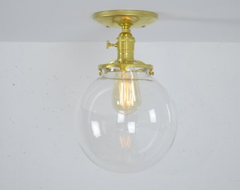 """8 Inch Flush Mount Ceiling Light, Ceiling Mounted Fixture, Unfinished Brass Light, 8"""" Globe"""