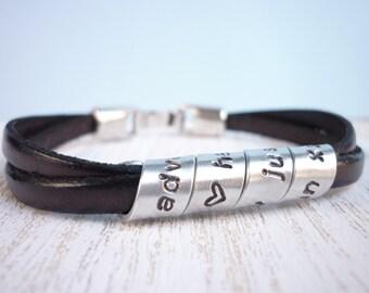 Custom mens leather bracelet, mens secret message bracelet, metal jewelry,anniversary gift for boyfriend, anniversary gift for husband