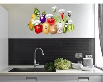Summer Sale - 20% OFF Smiling Vegetables wall decal sticker, deco, mural, vinyl wall art
