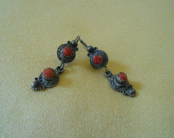 Vintage North African silver and coral earrings - 1970s  - Free shipping