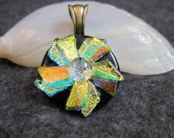 FLOWER, Dichroic Glass Pendant Necklace
