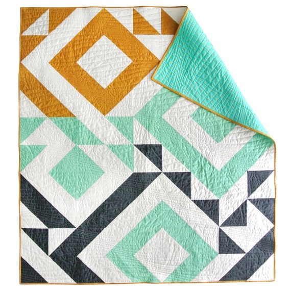 Modern Quilt Patterns For Beginners : Triangle Jitters Quilt Pattern PDF Download - DIY Sewing for Beginners Original Modern Quilting ...