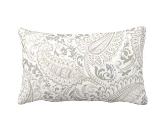 Paisley Pillow Cover Taupe Pillow Cover Decorative Pillow for Couch Beige Pillows Throw Pillows Shabby Chic Pillows Lumbar Pillows