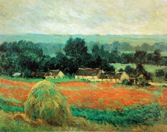 Impressionism. Claude Monet. Haystacks at Giverny. Painting. Fine art. Picture. Landscape. Printer copy.