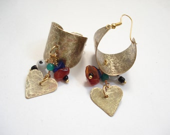 Hammered Bronze Basket Hoop Earrings Boho Metalwork Bronze Earrings Dangle Brass Hoop Earrings Modern Hoop Earrings