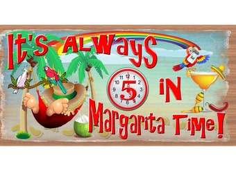 Margarita Time Wood Signs -  Margarita sign - 5 O'Clock -plaque -Beach sign - Beach plaque  Tropical sign - Bucket List GS 1235