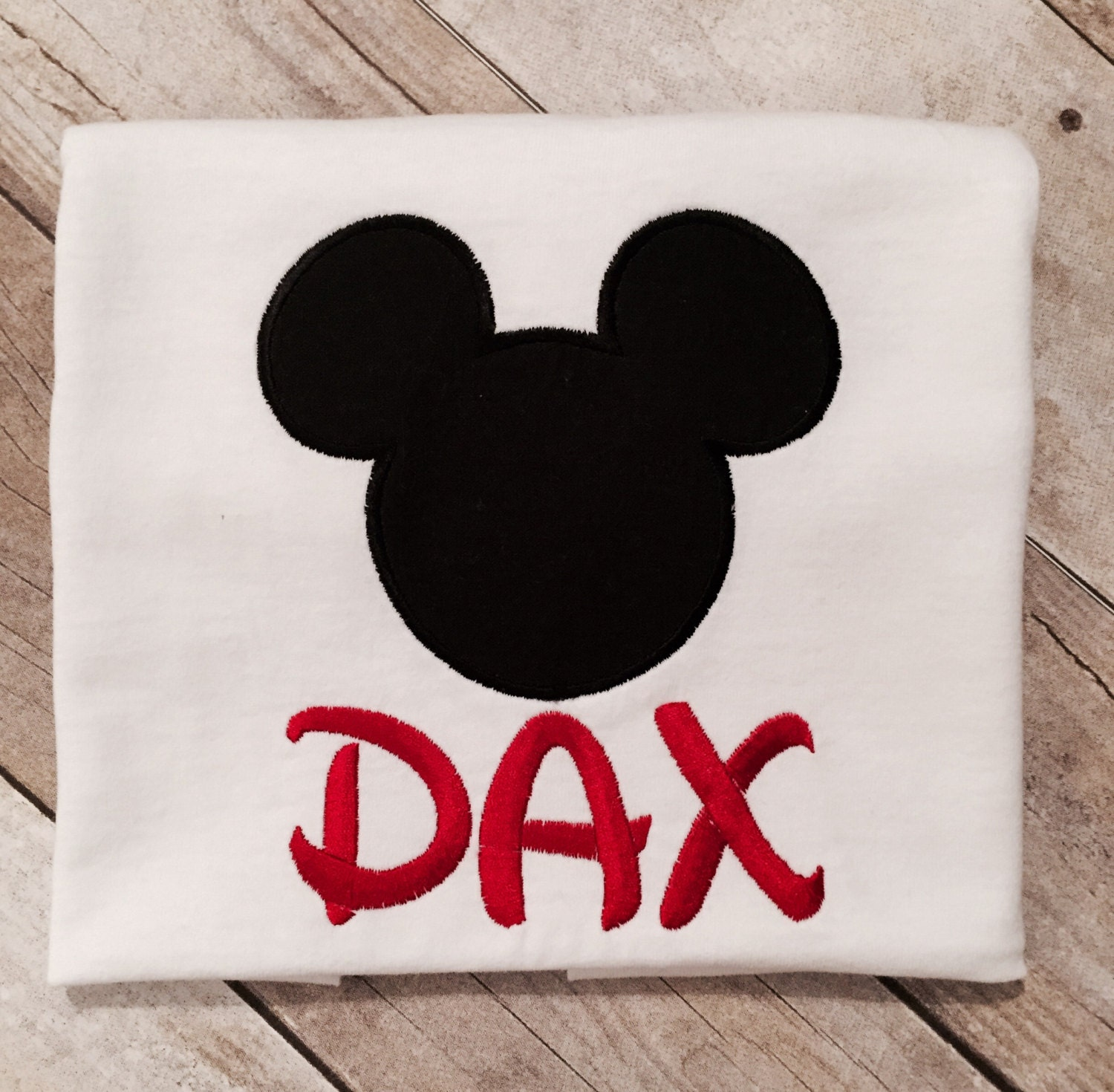 Custom Mickey Mouse Embroidered Short Sleeve Tee Shirt With