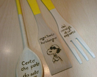 Yellow wooden SPOONS