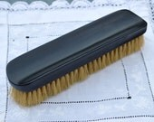 Antique Victorian Gentleman's Wooden Clothes Brush - Real Ebony Wood with Natural Bristles - Dark Almost Black Grooming Accessory - c.1800s