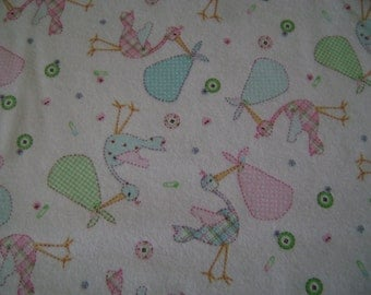 Rockaby Storks Flannel Fabric by the yard