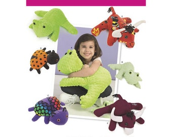 Simplicity Pattern 8157 Stuffed Frog, Lady Bug and Bulls in Two Size