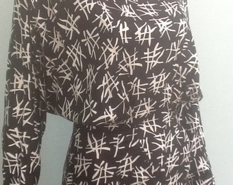 80's Couture Dress,Cris Cross Pattern on Rayon.