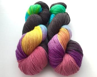 Hand Dyed/HandPainted Yarn--Black Magic on Superwash 80/10/10 Merino/Cashmere/Nylon Sock