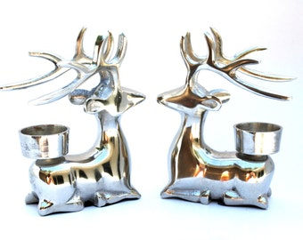Pewter Deer Candle Holders , Pair of Pewter Deer Tealight Holders , Animal Candle Holders , Pewter Bucks Candle Holders