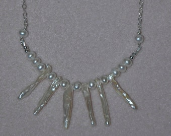 Small Helen of Troy Style Sterling Silver Spiky Biwa Pearl and White Rice Pearl Necklace