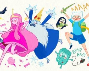 Adventure Time Print ( 10' x4.7' /  25.3 cm x 12cm )