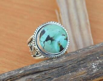 Tibetan Turquoise Ring, Turquoise Gemstone Ring, 925 Sterling Silver Ring, Bezel Set Ring Size 13, Turquoise Gemstone Ring