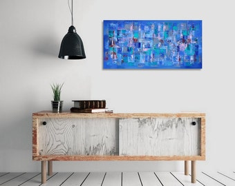 Abstract painting, Original painting, Modern, Horizontal painting,  35 x 71 cm / 13,8x28 inches Blue, green, purple