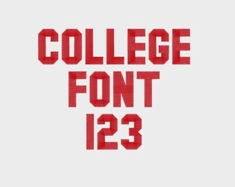 """College Embroidery Machine Font, 1"""", 2"""", & 3"""" sizes (upper case and numbers) - INSTANT DOWNLOAD - Item #1043"""