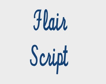 "Flair Script Embroidery Font in 6 sizes (0.5"", 0.75"", 1"", 1.5"", 2"" & 3"") upper and lower case + numbers - INSTANT DOWNLOAD -  Item #1084"