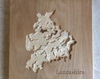 Wooden Wall Map of Lancashire. Carved Topographical Wooden Map Made with Birch Plywood and Wood Wax - Wooden map - Carved map