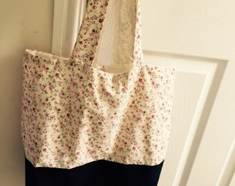 Vintage Cream/Rose and Denim Tote/Beach bag