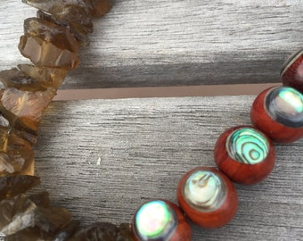 Unique abalone shell inlay wood beads and beer quartz statement necklace