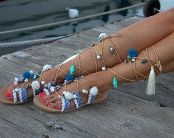 "Tie Up Gladiator Sandals, Greek Sandals, Semi Precious Stones, Swarovski, Pom Pom, Boho Sandals, ""Wave"""