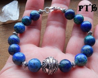 "Insight/Reception ~ Authentic Natural Azurite in Lapis Lazuli Gemstone Bali Bracelet 7 1/2"""