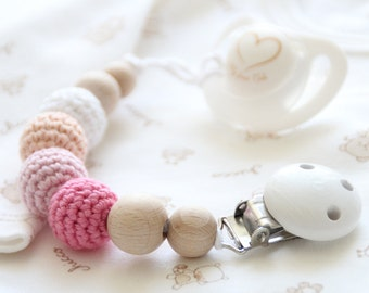 Light organic baby pacifier clip / Dummy holder / Beads are safe for teething
