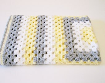 Baby Boy Afghan, Baby Girl Afghan, Yellow, Gray and White Blanket, Granny Square Afghan