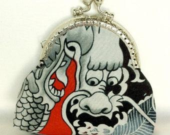 change purse coin purse credit card purse dragon black grey red 036
