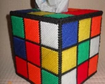 Rubix cube design tissue box cover