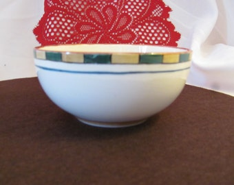 Green Gold and Red Bordered Soup Bowl