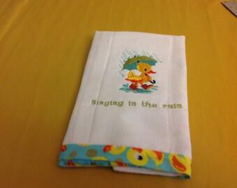 Diaper Burp Cloth-Duck Singing in the rain