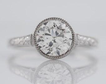 1930's Engagement Ring Art Deco 1.18ct Old European Cut Diamond in Platinum
