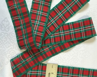 """Sold by the Yard. Plaid Christmas Ribbon  Plaid Ribbon, 2"""" Wide. Rayon/Acetate. Made in England. Red white and Green Ribbon."""