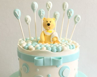 Baby Teddy Bear and Balloons Fondant Cake Topper