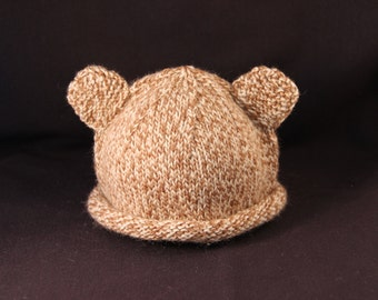 6 month to 1 yr - Teddy Bear - knit baby hat - baby knit hat  - baby hat knit - knit hat - baby photo prop