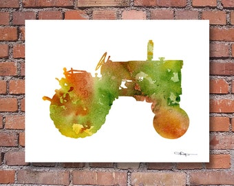 Tractor Art Print - Abstract Watercolor Painting - Wall Decor