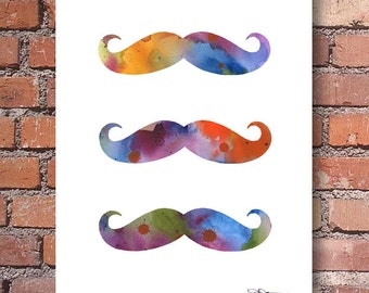 Moustache Art Print - Abstract Watercolor Painting - Wall Decor