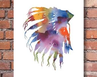 Indian Headdress Art Print - Abstract Watercolor Painting - Wall Decor