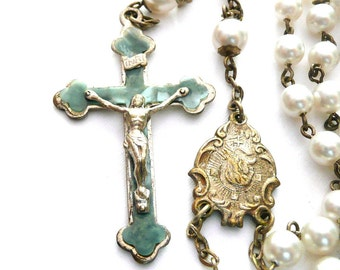 Vintage Faux Pearl Rosary