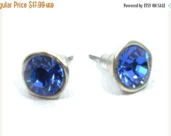 sapphire stud earrings, silver birthstone ear studs, sapphire blue swarovski crystal earrings, september jewelry, bridesmaid jewelry