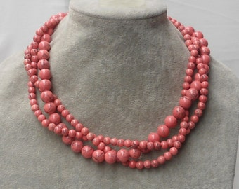 Pink Necklaces, 18 Inches  6mm and 10mm 3 Strands bead  Necklace,Wedding Jewelry,Necklace,Bridesmaid necklace,3 Strands beads Necklace,